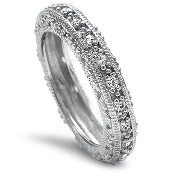 Pave Cz Antique Style Fashion Engagement Band .925 Sterling Silver Ring Sizes 4-11