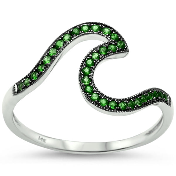 .18ct 14k White Gold Natural Emerald Wave Ring Size 6.5