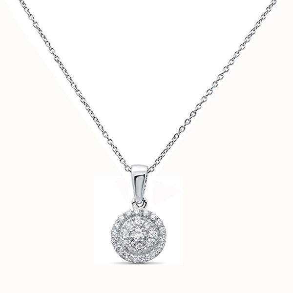 .35ct F SI 14kt White Gold Round Diamond Pendant .56