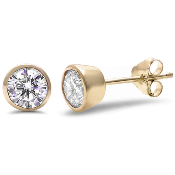 Yellow Gold Plated Round Bezel Set Cubic Zirconia .925 Sterling Silver Earring