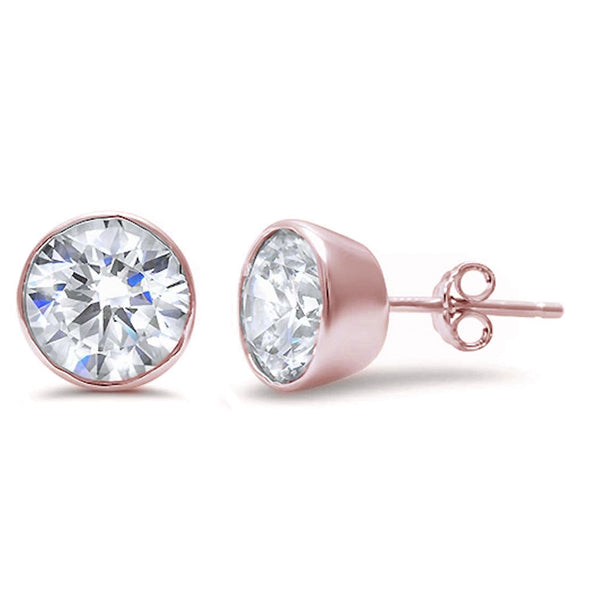 Rose Gold Plated Round Bezel Set Cubic Zirconia .925 Sterling Silver Earring