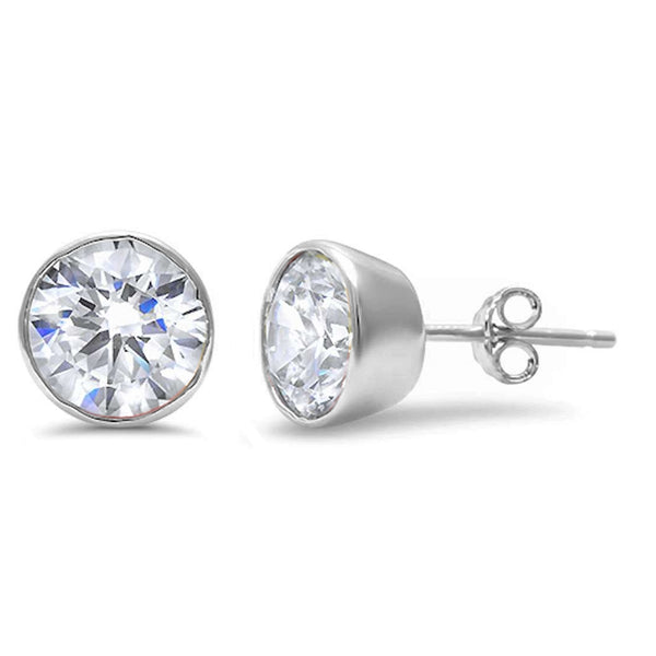 Round Brilliant Cut Bezel Set Cubic Zirconia .925 Sterling Silver Earring