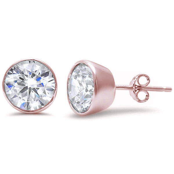 Rose Gold Plated Round Brilliant Bezel Set Cubic Zirconia .925 Sterling Silver Earring