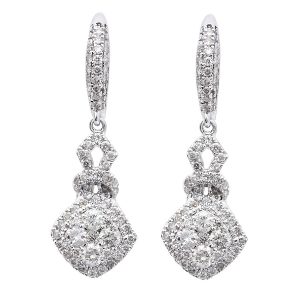 1.30ct Round Diamond Halo Style Drop Dangle Earrings 14kt White Gold
