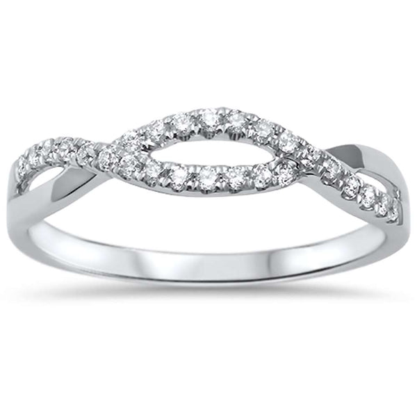 .16ct F SI 14kt White Gold Round Diamond Twisted Infinity Anniversary Band