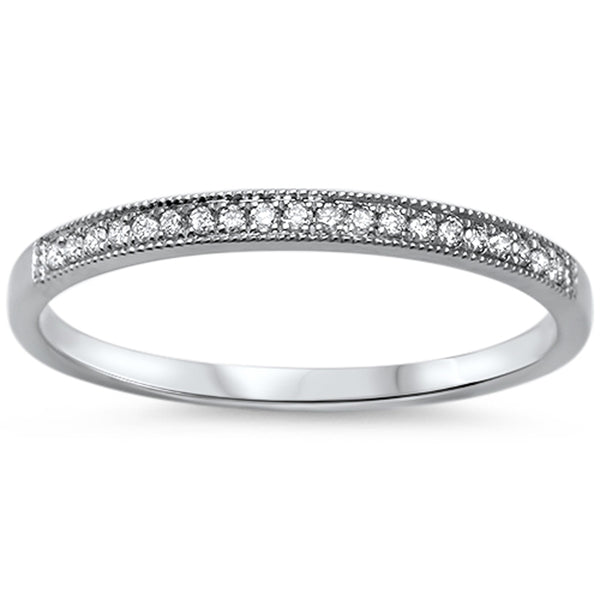 .08ct 14k White Gold F SI Diamond Wedding Stackable Band
