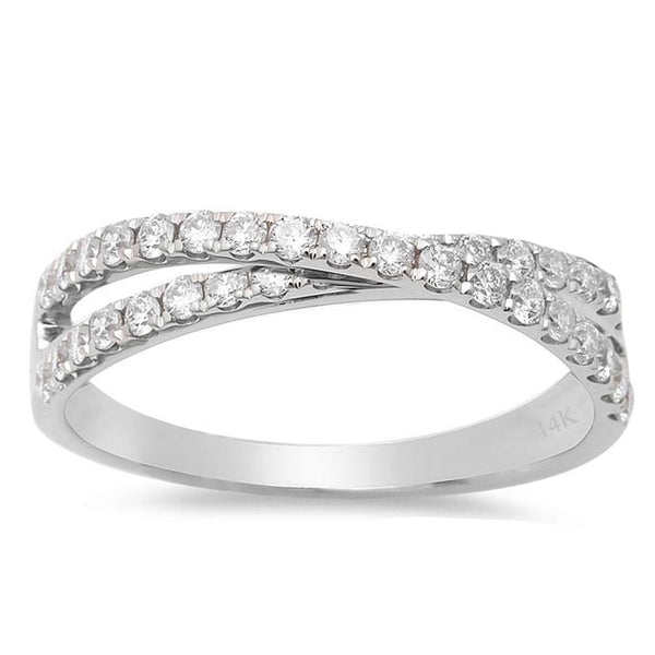 .18ct F VS2 14k White Gold Infinity Diamond Band Ring Size 6.5