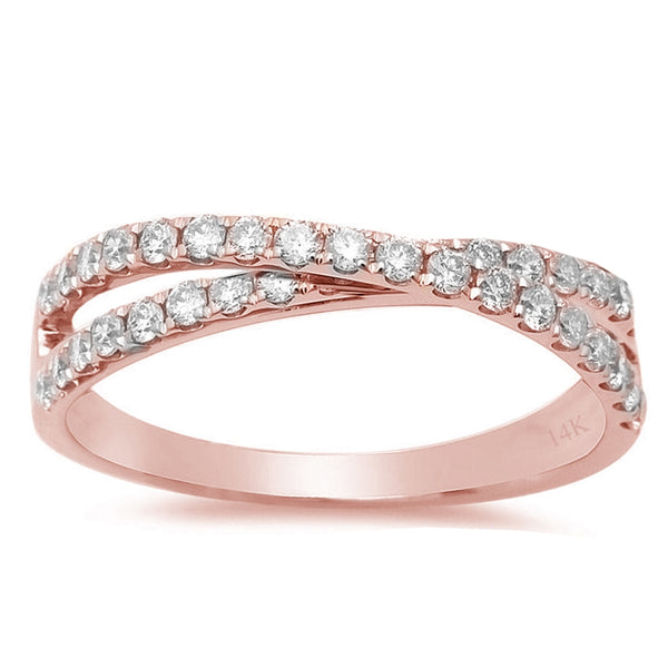 .19ct F VS2 14k Rose Gold Infinity Diamond Band Ring Size 6.5