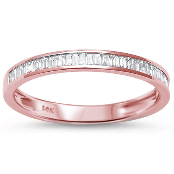 .25ct Channel Set 14kt Rose Gold Baguette Diamond Wedding Anniversary Band
