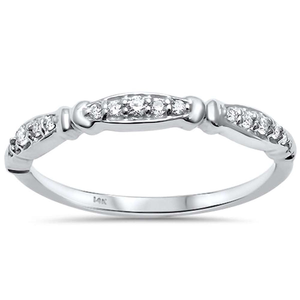 .11ct F SI 14kt White Gold Diamond Band Ring Size 6.5