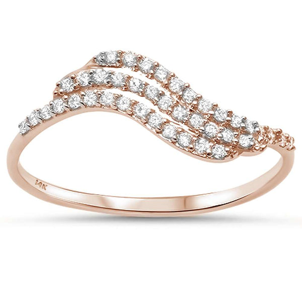 .17ct F SI 14kt Rose Gold Wave Diamond Band Ring Size 6.5