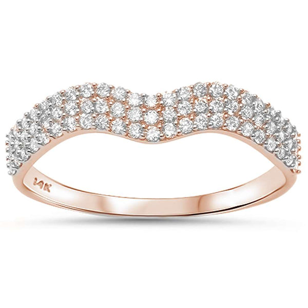 .29ct F SI 14kt Rose Gold Diamond Band Ring Size 6.5