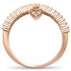 .17ct F SI 14kt Rose Gold Heart Dangle Diamond Band Ring Size 6.5