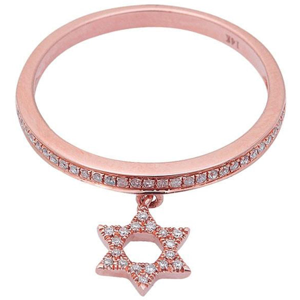 .17ct Diamond Star of David Dangle 14kt Rose Gold Ring Size 6.5