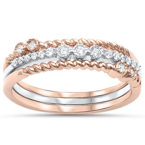 .15ct F SI 14kt Rose & White Gold Diamond Stackable Band Rings Size 6.5