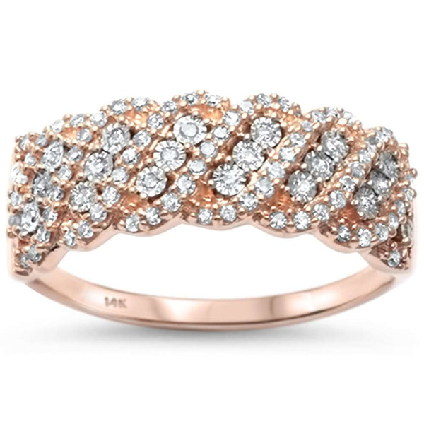 .27ct F SI 14kt Rose Gold Elegant Diamond Band Ring Size 6.5