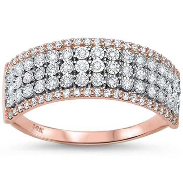 .30ct F VS2 14kt Rose Gold & Round Diamond Wide Band Ring Size 6.5