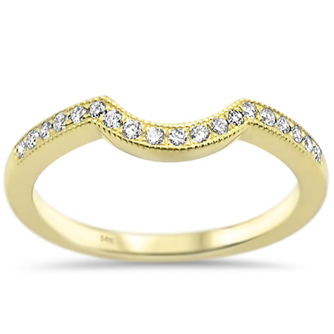 .18ct G SI 14k Yellow Gold Diamond Curved Accent Wedding Band Ring Size 6.5
