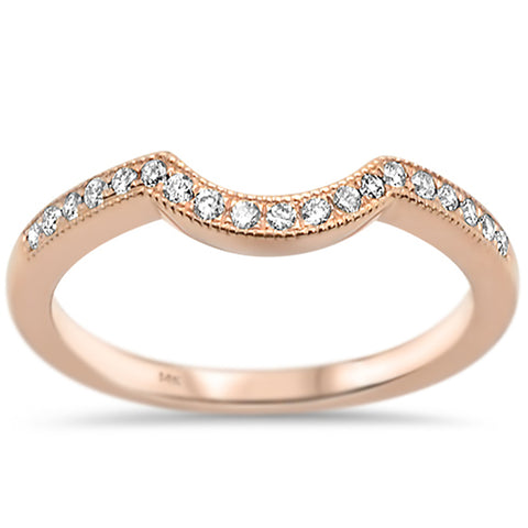.18ct G SI 14k Rose Gold Diamond Curved Accent Wedding Band Ring Size 6.5
