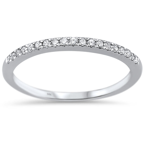 .16ct G SI 14k White Gold Diamond Accent Stackable Wedding Band Ring Size 6.5