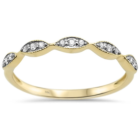 .10ct G SI 14k Yellow Gold Diamond Accent Stackable Wedding Band Ring Size 6.5