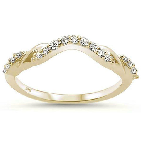 .15ct 14k Yellow Gold F SI Stackable Wedding Anniversary Curved Diamond Band