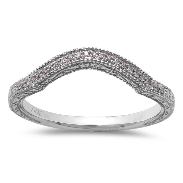 .05CT Round Diamond Diamond Curved Wedding Anniversary Band 14kt White Gold