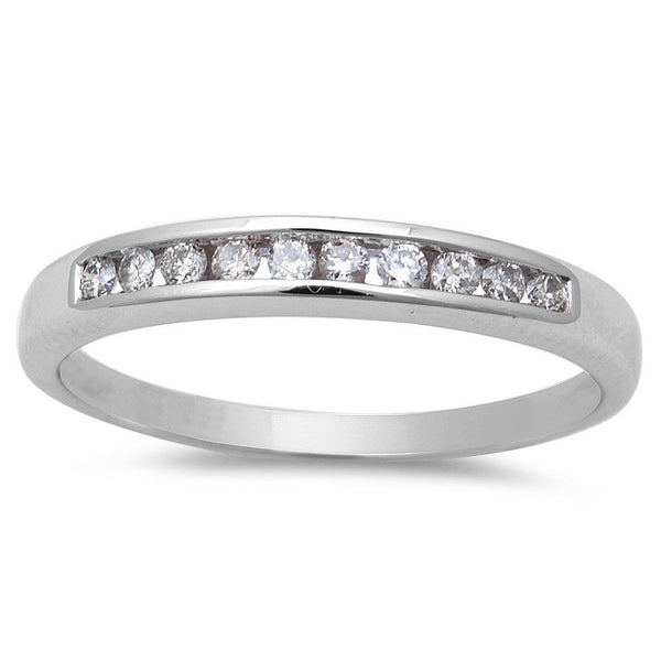 .16ct Round Diamond Channel Set Wedding Band 14kt White gold size 6.5