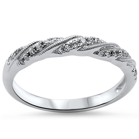 .13ct Round Diamond 14kt White Gold Wedding Band Ring size 6.5