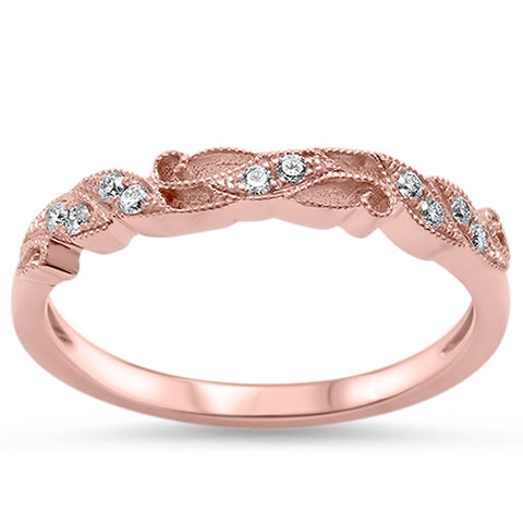 .13ct Round Diamond 14kt Rose Gold Wedding Band Ring size 6.5