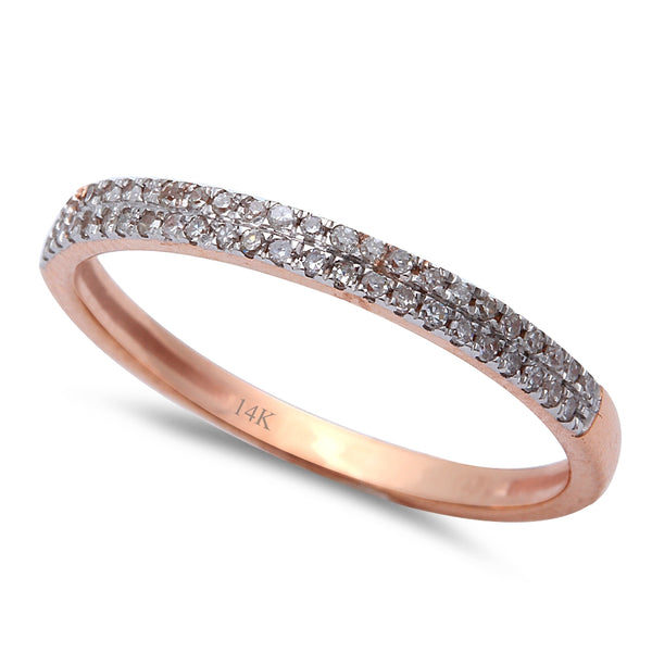 .15CT Round Diamond Pave Set Diamond Wedding Anniversary Band 14kt Rose Gold