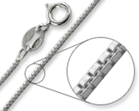 Box Chain 0.8MM Wide Made in Italy Solid Sterling Silver Available in 16