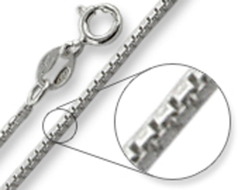 Box Chain 1.2MM Wide Made in Italy Solid Sterling Silver Available in 16
