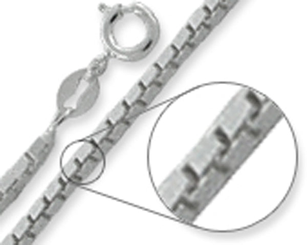 Box Chain 1.4MM Wide Made in Italy Solid Sterling Silver Available in 16