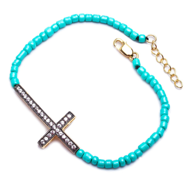 Yellow Gold Finish Turquoise Bead Sideways Cross Bracelet Solid Silver 7-8