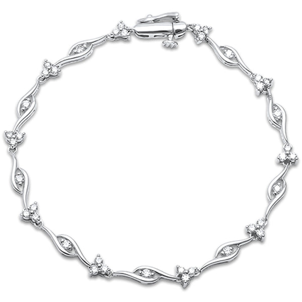 .97ct F SI 14kt White Gold Diamond Elegant Bracelet 7.5