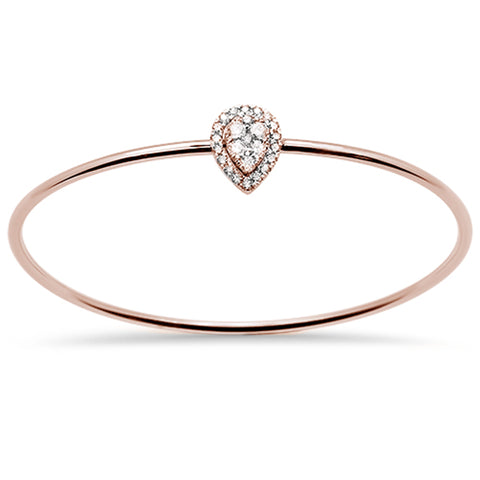 .48ct F SI 14k Rose Gold Diamond Bangle Bracelet 7.5