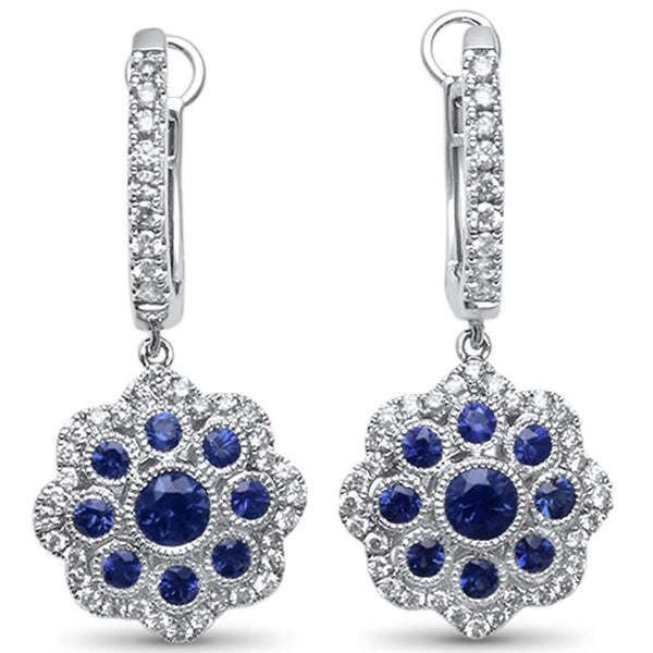 1.20ct F SI 14kt White Gold Antique Reproduction Blue Sapphire & Diamond Earring