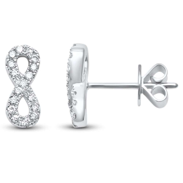 .18ct F SI 14kt White Gold Diamond Infinity Stud Earrings