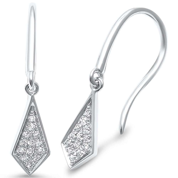 .08ct F SI 14kt White Gold Modern Diamond Drop Dangle Earrings