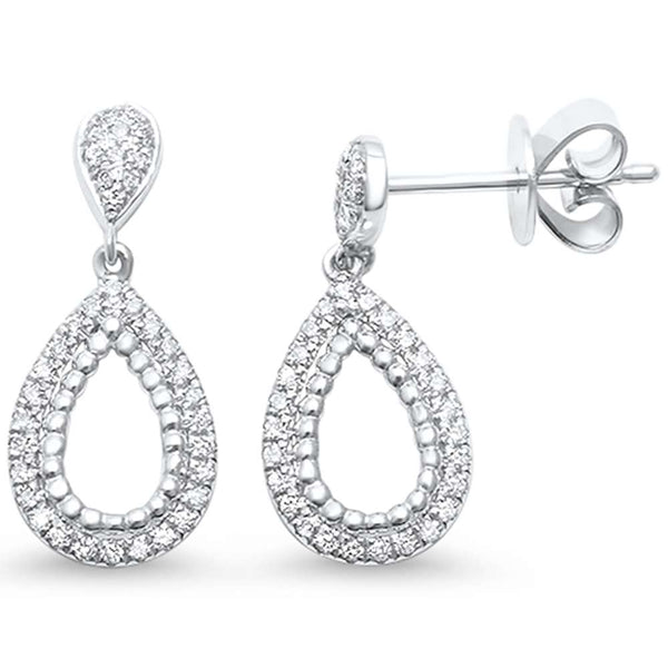 .22ct F SI 14kt White Gold Pear Drop Dangle Diamond  Earrings