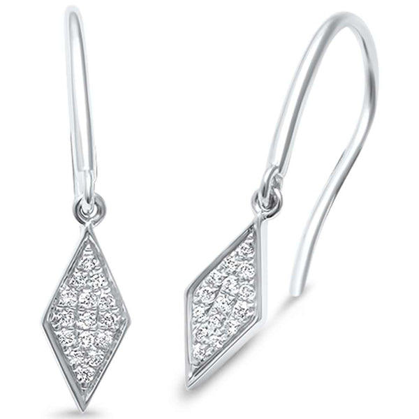 .09ct F SI 14kt White Gold Modern Drop Diamond Stud Earrings