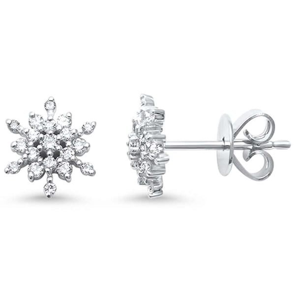 .24ct F SI 14kt White Gold Snowflake Diamond Stud Earrings