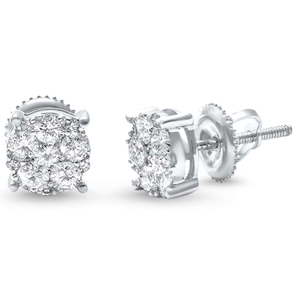 .75ct F SI 14kt White Gold Diamond Round Stud Earrings