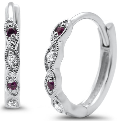 .09ct G SI 14k White Gold Hoop Huggie Ruby &  Diamond Earrings