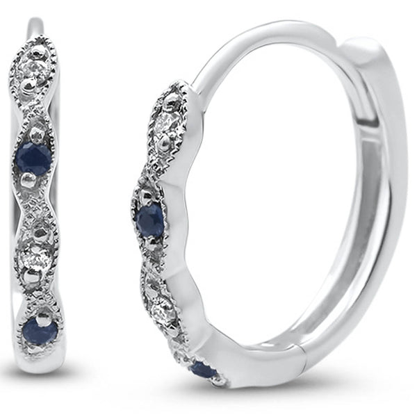 .10ct G SI 14k White Gold Blue Sapphire & Diamond Earrings