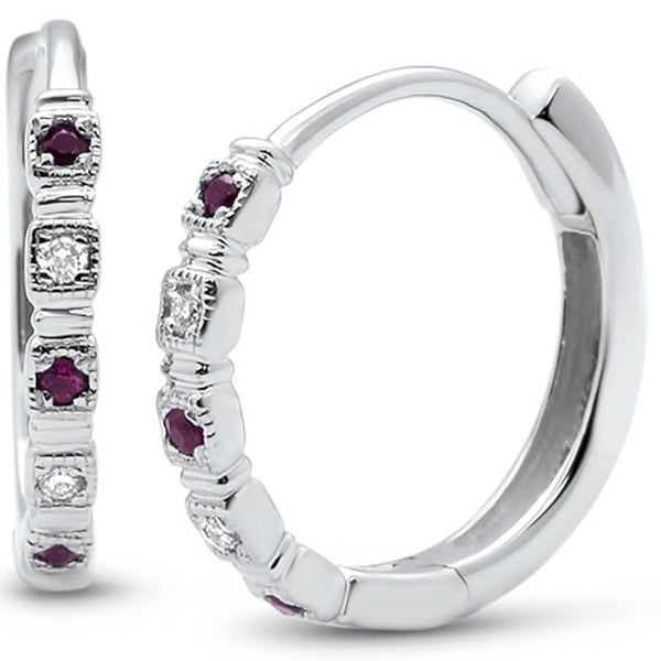 .10ct G SI 14k White Gold Diamond & Ruby Hoop Huggie Earrings