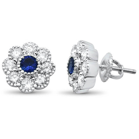 1.58ct G SI 14k White Gold & Blue Sapphire Filigree Flower Diamond Earrings