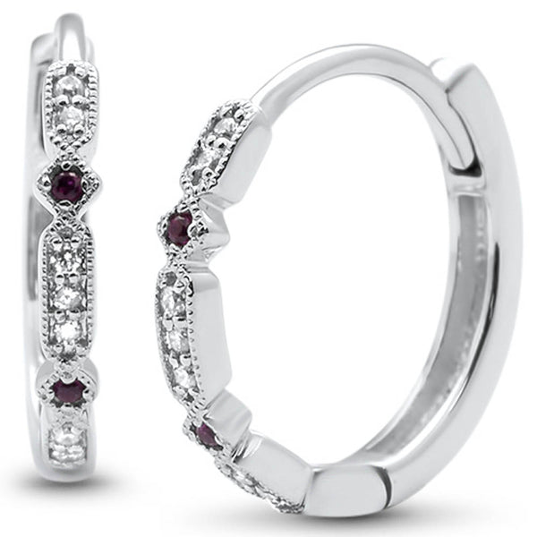 .08ct G SI 14k White Gold Diamond & Ruby Hoop Huggie Earrings