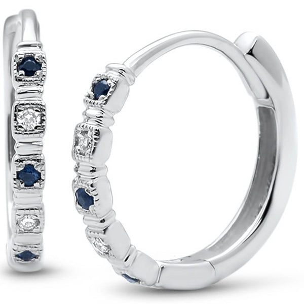 .08ct G SI 14k White Gold Antique Blue Sapphire & Diamond Hoop Huggie Earrings